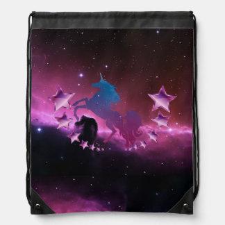 Unicorn with stars drawstring bag