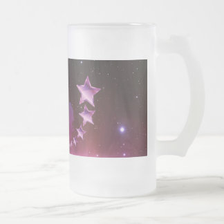 Unicorn with stars frosted glass beer mug
