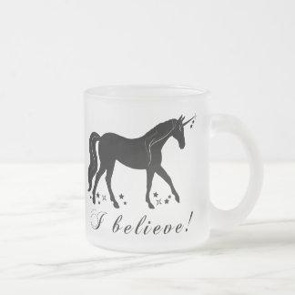 Unicorn with Stars: I Believe! Frosted Glass Coffee Mug