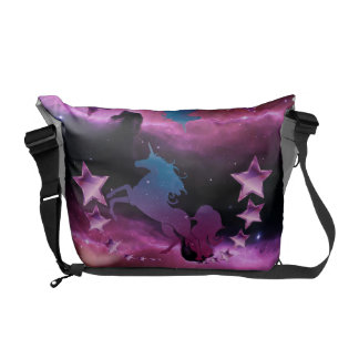 Unicorn with stars messenger bag