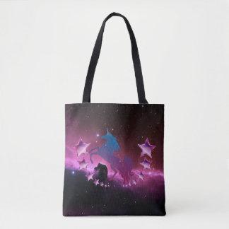 Unicorn with stars tote bag