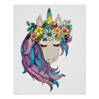 Unicorn With Wild Flowers In Watercolor Poster