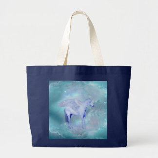 Unicorn with wings fantasy large tote bag