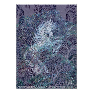 Unicorn Woods Deva by Darlene P Coltrain Print