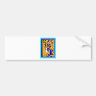 Unicorn Woodvine on Gold & Royal Blue by Sharles Bumper Sticker
