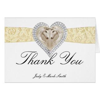 Unicorn Yellow Lace Thank You Card