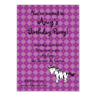 Unicorn zebra birthday invitations
