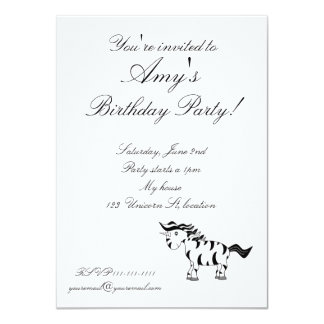 Unicorn zebra invitation