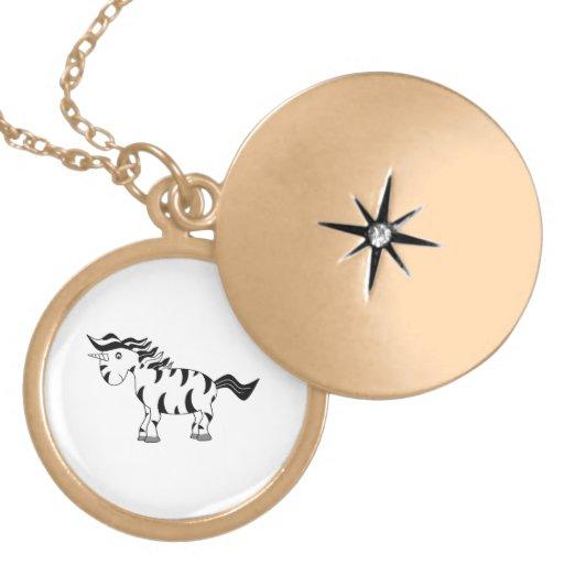 Unicorn zebra necklace