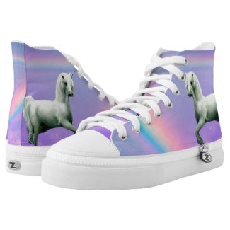 Unicorn Zipz High Top Sneakers, Printed Shoes