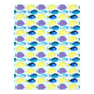 unicornfish and tang fish pattern in blue letterhead