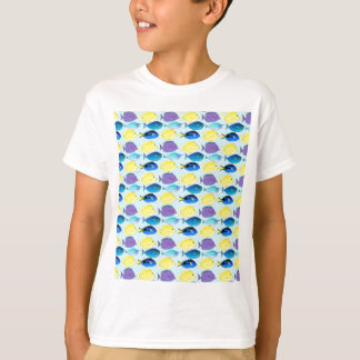 unicornfish and tang fish pattern in blue T-Shirt