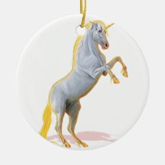unicornio adorno navideño redondo de cerámica
