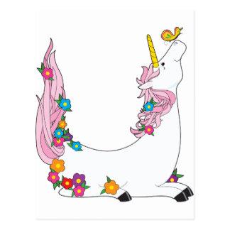 Unicornio animal del alfabeto postal
