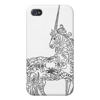 Unicornio antiguo de la caligrafía del Flourish de iPhone 4 Funda