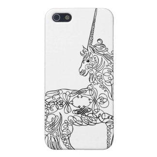 Unicornio antiguo de la caligrafía del Flourish de iPhone 5 Protector