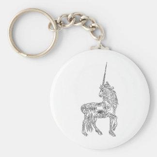 Unicornio antiguo de la caligrafía del Flourish de Llaveros Personalizados