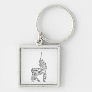 Unicornio antiguo de la caligrafía del Flourish de Llavero Cuadrado Plateado