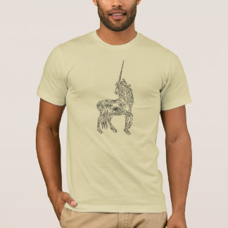 Unicornio antiguo de la caligrafía del Flourish de Playera