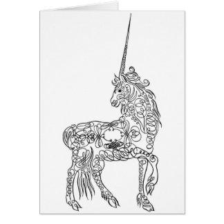 Unicornio antiguo de la caligrafía del Flourish de Tarjeta De Felicitación