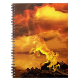 Unicornio ardiente libro de apuntes con espiral
