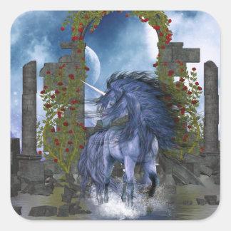 Unicornio azul 2 pegatinas cuadradas