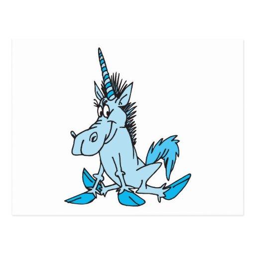 unicornio azul claro del dibujo animado tarjeta postal