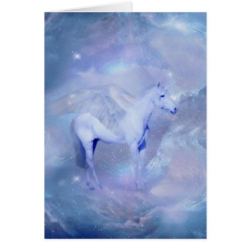 Unicornio azul con fantasía de las alas tarjeta de felicitación