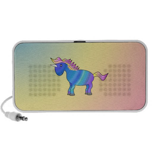 Unicornio azul del arco iris en fondo del arco iri portátil altavoz