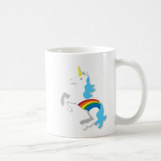 Unicornio azul del arco iris taza de café