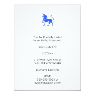 """Unicornio azul (del bígaro) invitación 4.25"""" x 5.5"""""""