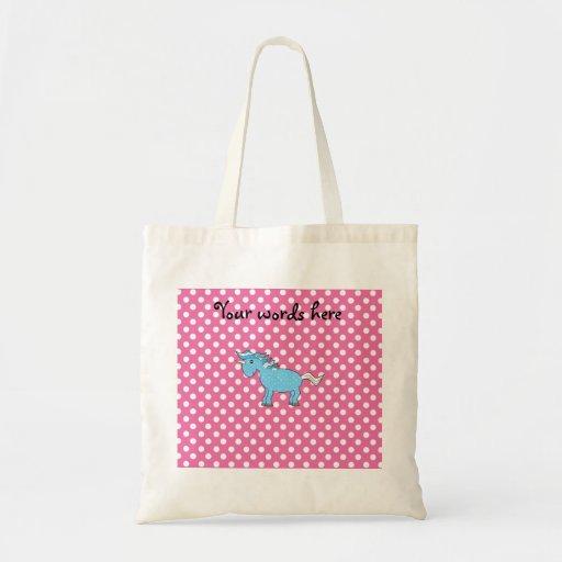 Unicornio azul en polkadots rosados bolsa tela barata