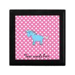 Unicornio azul en polkadots rosados cajas de regalo