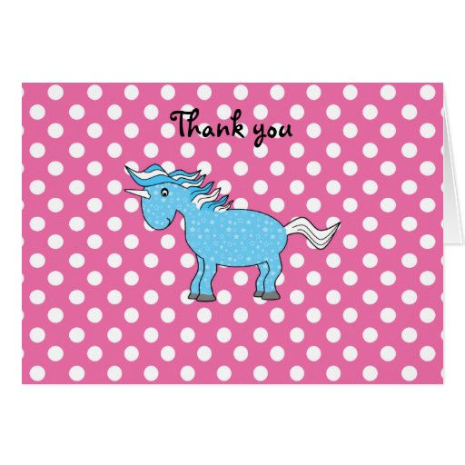 Unicornio azul en polkadots rosados felicitaciones