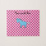 Unicornio azul en polkadots rosados rompecabezas