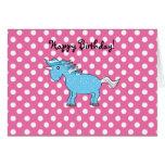 Unicornio azul en polkadots rosados tarjeta