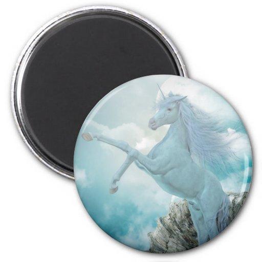 unicornio azul imán redondo 5 cm