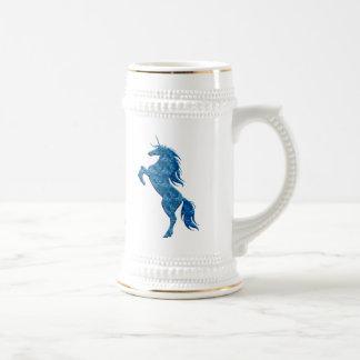 Unicornio azul Stein del fuego Jarra De Cerveza