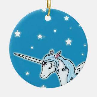 Unicornio azul y blanco de Pegaso Adorno Navideño Redondo De Cerámica