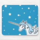 Unicornio azul y blanco de Pegaso Tapetes De Raton