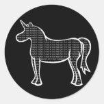 Unicornio binario etiquetas redondas