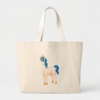 Unicornio blanco bolsa tela grande