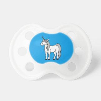 Unicornio blanco con la melena de plata chupete de bebe