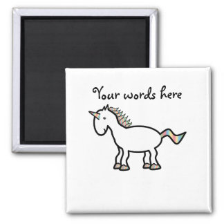 Unicornio blanco del arco iris imán cuadrado