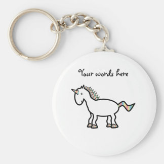 Unicornio blanco del arco iris llavero personalizado