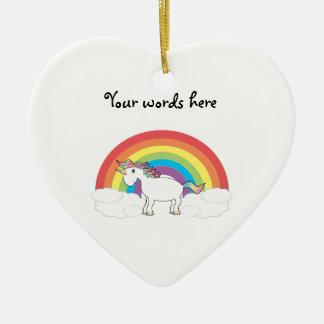 Unicornio blanco en el arco iris y las nubes adorno para reyes