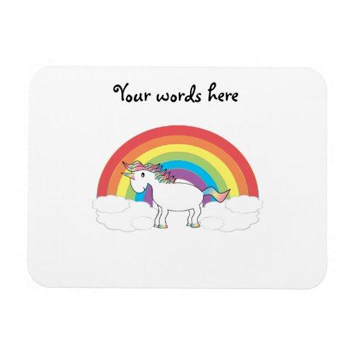 Unicornio blanco en el arco iris y las nubes iman rectangular