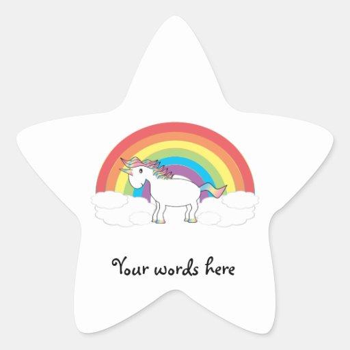 Unicornio blanco en el arco iris y las nubes pegatina en forma de estrella