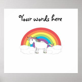 Unicornio blanco en el arco iris y las nubes póster