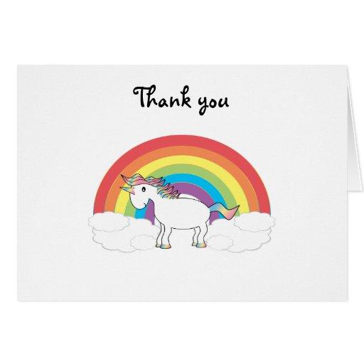 Unicornio blanco en el arco iris y las nubes felicitaciones